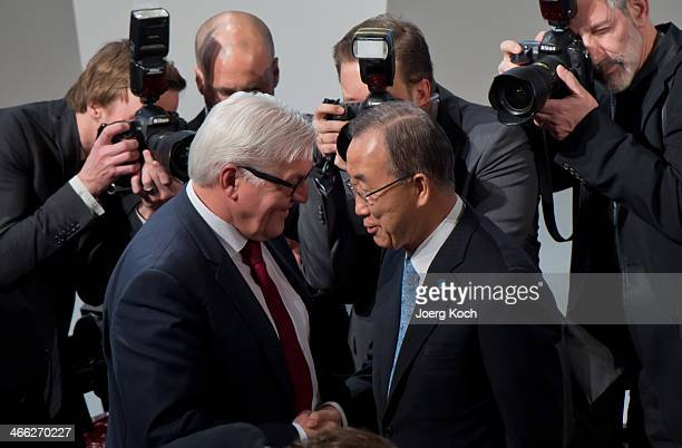 German Foreign Minister Frank-Walter Steinmeier meets Secretary-General of the United Nations Ban Ki-moon during the 50th Munich Security Conference...