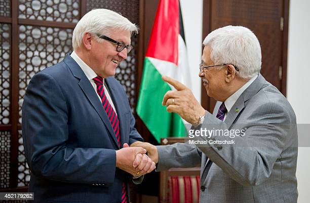 German Foreign Minister FrankWalter Steinmeier meets the president of the palestinian authorities Mahmoud Abbas on July 15 2014 in Ramallah...