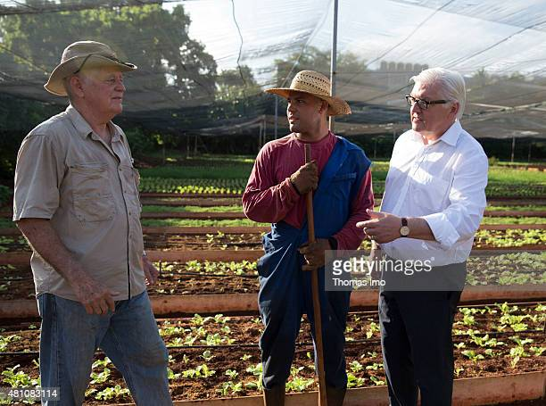 German Foreign Minister Frank-Walter Steinmeier meets Vivero Alamar, head of a project for ecological horticulture, which is funded by...