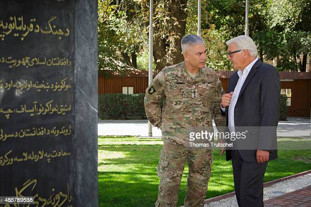 German Foreign Minister FrankWalter Steinmeier meets with Commander of Resolute Support Mission General John F Campbell on August 30 2015 in Kabul...