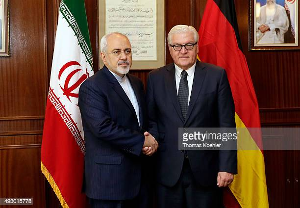 German Foreign Minister FrankWalter Steinmeier meets with Foreign Minister of Iran Mohammad Javad Zarif on October 17 2015 in Tehran Iran It is the...