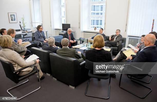 German Foreign Minister FrankWalter Steinmeier meets with heads of several departments of the German Foreign Office in his office on March 16 2014 in...