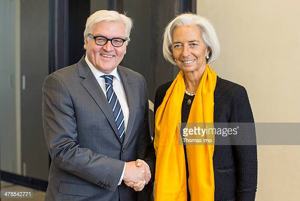 German Foreign Minister FrankWalter Steinmeier meets with International Monetary Fund Managing Director Christine Lagarde on February 28 2014 in...