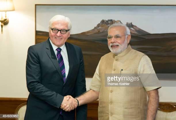 German Foreign Minister FrankWalter Steinmeier meets with Narendra Modi Prime Minister of India on September 08 2014 in New Delhi India Steinmeier is...