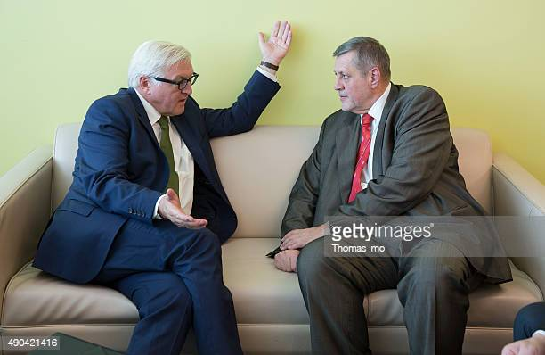 NEW YORK NY SEPTEMBER 28 German Foreign Minister FrankWalter Steinmeier meets with Special Representative of the United Nations in Iraq Jan Kubis...