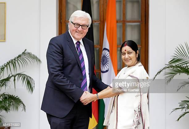 German Foreign Minister FrankWalter Steinmeier meets with Sushma Swaraj Foreign Minister of India on September 08 2014 in New Delhi India Steinmeier...