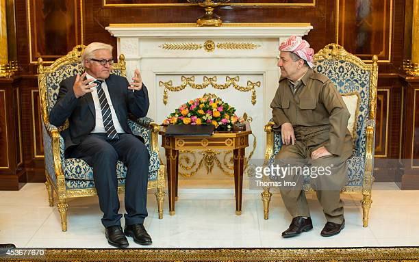 German Foreign Minister FrankWalter Steinmeier meets with the President of the Kurdistan autonomous region in northern Iraq Massoud Barzani on August...