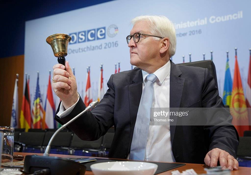 German Foreign Minister Frank-Walter Steinmeier poses during visiting the Conference location on December 07, 2016 in Hamburg, Germany. At the OSCE Ministerial Council the foreign ministers and other political representatives of the participating states come together to speak about current political conflicts and topics.