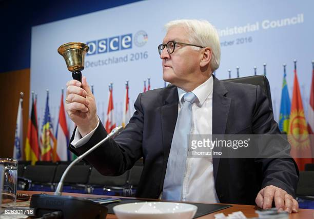 German Foreign Minister FrankWalter Steinmeier poses during visiting the Conference location on December 07 2016 in Hamburg Germany At the OSCE...