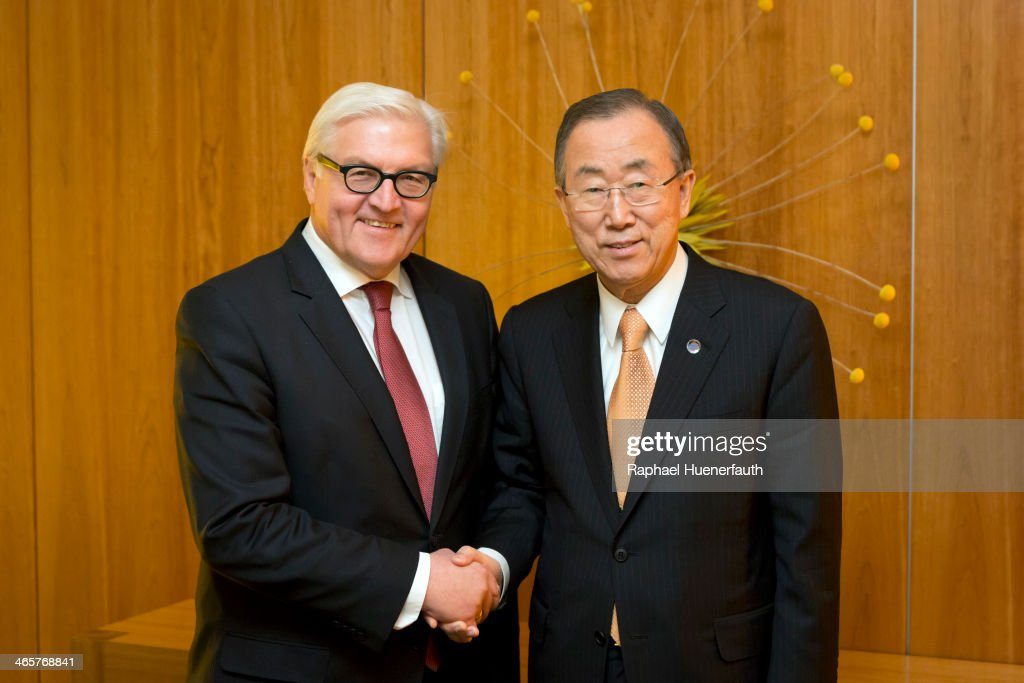 German Foreign Minister Frank-Walter Steinmeier (L) shakes hands with UN Secretary General Ban Ki-Moon (R) on January 29, 2014 in Berlin, Germany. Ban Ki-Moon will hold the inaugural meeting of his Scientific Advisory Board on January 30.