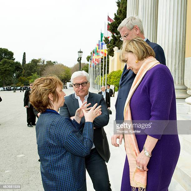 German Foreign Minister FrankWalter Steinmeier speaks with Vice President of the European Commission and High Representative of the Union for Foreign...