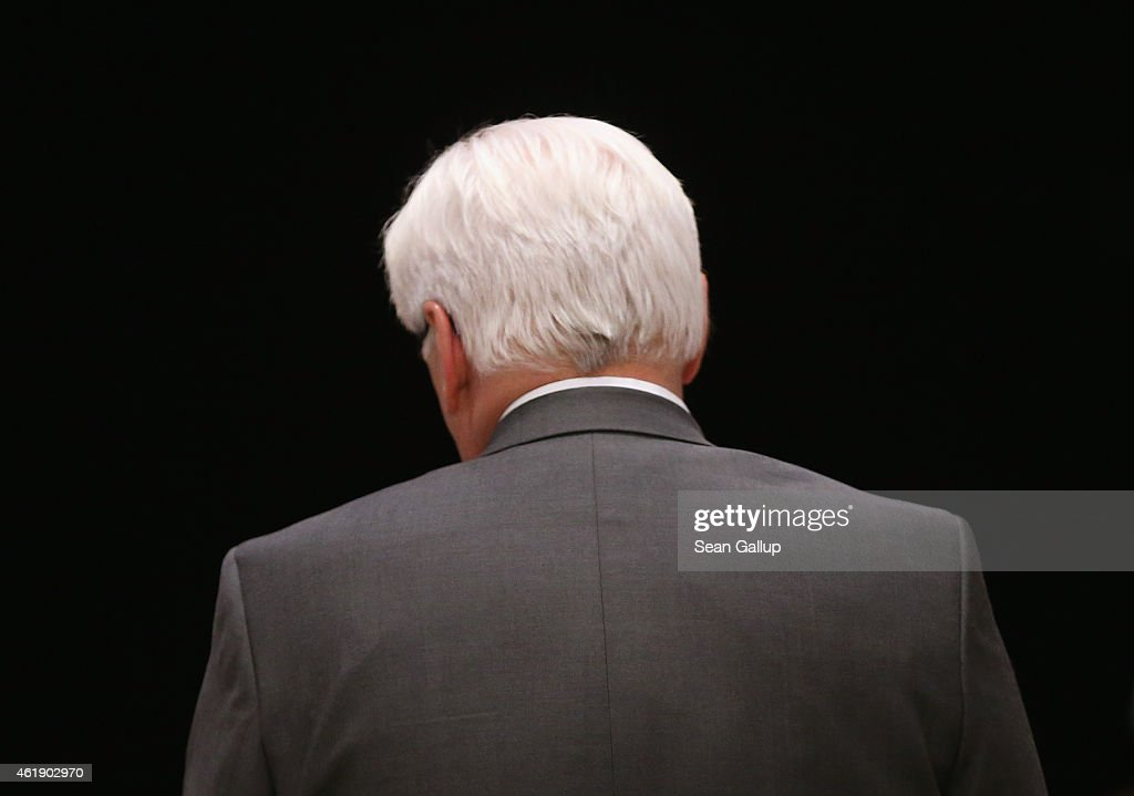 German Foreign Minister Frank-Walter Steinmeier stands in the doorway of Villa Borsig as he waits for the arrival of Russian Foreign Minister Sergey Lavrov prior to also meeting with Ukrainian Foreign Minister Pavlo Klimkin and French Foreign Minister Laurent Fabius to discuss the ongoing conflict in eastern Ukraine at Villa Borsig on January 21, 2015 in Berlin, Germany. The four men are meeting as fighting between the Ukrainian Army and Russian-backed separatists in the Donbas region of eastern Ukraine has increased in the last few weeks.