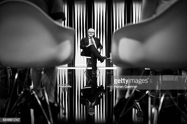 German Foreign Minister FrankWalter Steinmeier visits LTV TV Station on May 27 2016 in Riga Latvia Steinmeier traveled to Lithuania Latvia and...