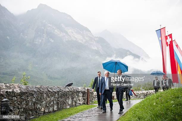 German Foreign Minister Frank-Walter Steinmeier walks through Burg Gutenberg on August 05, 2016 in Balzers, Liechtenstein. Steinmeier travels to...