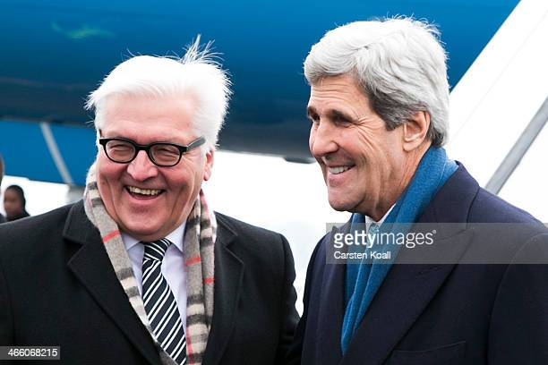 German Foreign Minister FrankWalter Steinmeier welcomes United States counterpart Secretary of State John Kerry on January 31 2014 in Berlin Germany...