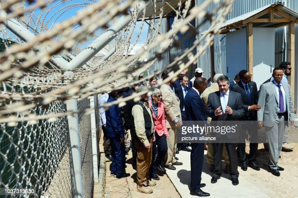German foreign minister Gabriel in conversation with the Somalian prime minister Hassan Ali Khairei in Mogadishu Somalia 1 May 2017 Photo Maurizio...