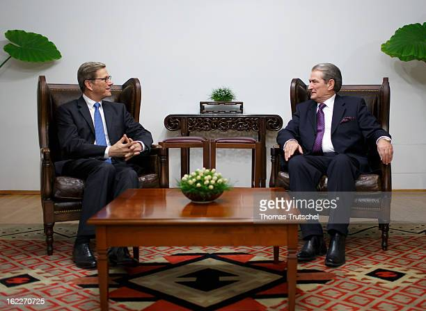 German Foreign Minister Guido Westerwelle and Albanian Prime Minister Sali Berisha are pictured during a meeting at the guesthouse of the Albanian...