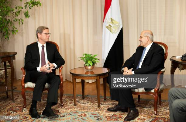 German Foreign Minister Guido Westerwelle and Egypt Vice President Mohamed El-Baradei look on during a meeting on August 1, 2013 in Cairo, Egypt....