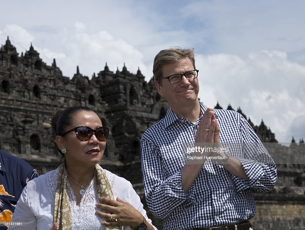 German Foreign Minister Guido Westerwelle (R) and Wiendu Nuryanti, Deputy Minister of Culture of Indonesia, visit the World Heritage listed Borobudur Temple Compounds, a 1200 years old buddhistic temple on February 10, 2013 in Borobudur, Indonesia. The eruption of Mt Merapi in 2010 posed a serious threat to the conservation of the temple and since 2011 Germany has provided financial contributions through UNESCO to support the conservation efforts.