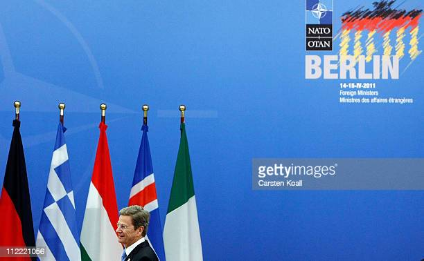 German Foreign Minister Guido Westerwelle arrives at an informal meeting of NATO member foreign ministers on April 15 2011 in Berlin Germany The...