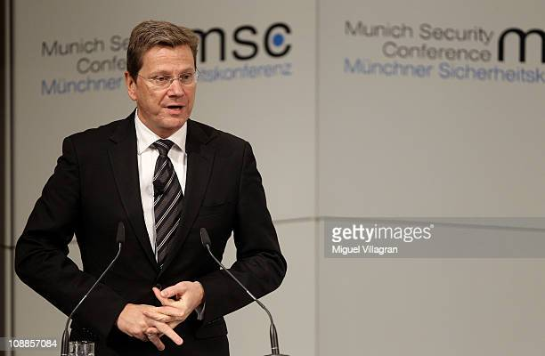 German Foreign Minister Guido Westerwelle delivers his speech during the third day of the 47th Munich Security Conference at Hotel Bayerischer Hof on...