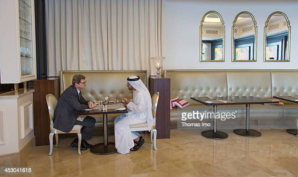 German Foreign Minister Guido Westerwelle FDP meets with his Abu Dhabi counterpart Sheikh Abdullah bin Zayed Al Nahyan on November 13 2013 in Abu...