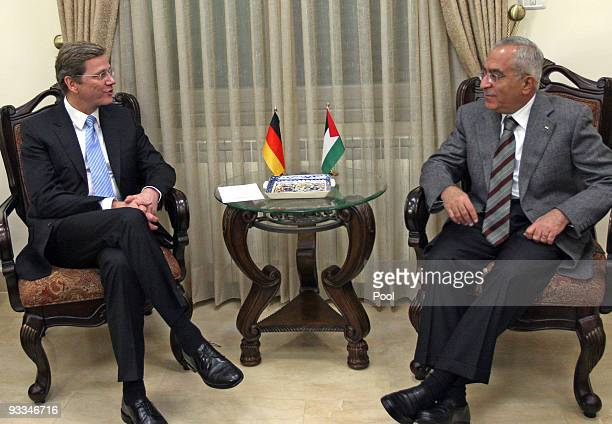German Foreign Minister Guido Westerwelle meets Palestinian Prime Minister Salaam Fayyad during his visit to the West Bank on November 24 2009 in...