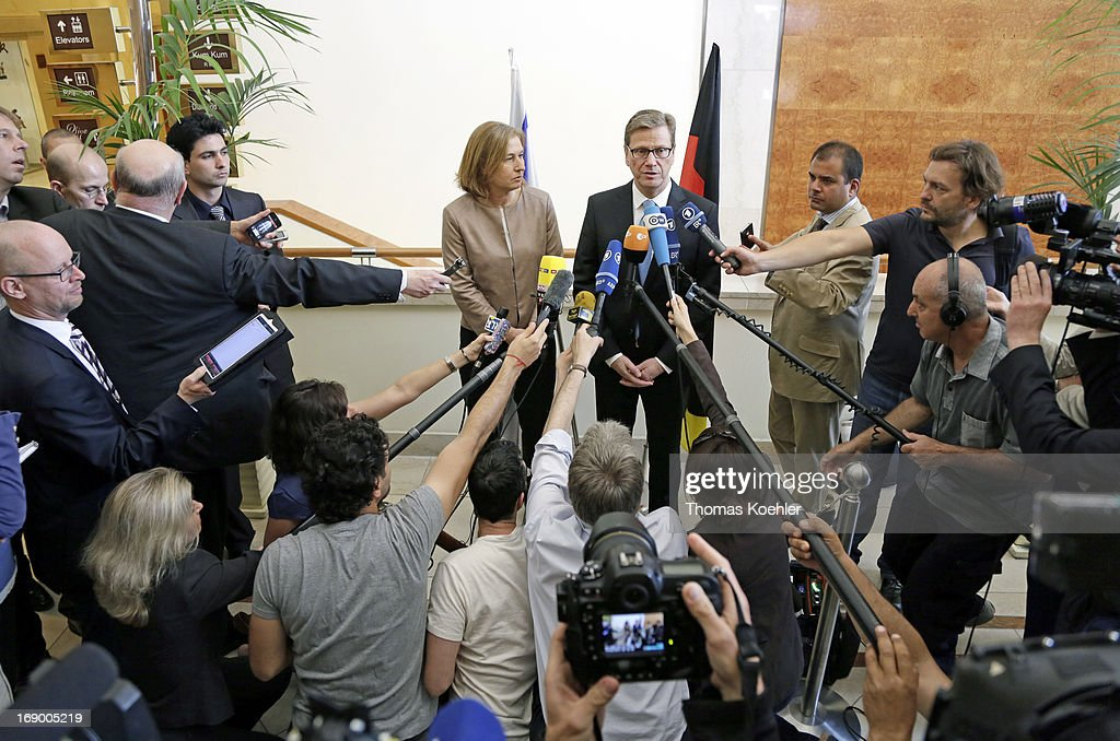 German Foreign Minister Guido Westerwelle meets Tzipi Livni, Minister of Justice, on May 17, 2013 in Tel Aviv, Israel. The issues topping the agenda are renewed efforts for the Middle East peace process, the crisis in Syria and the Iranian nuclear programme.