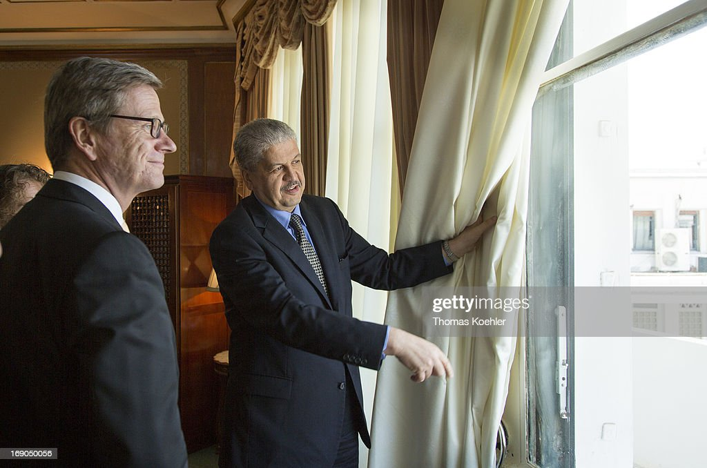 German Foreign Minister Guido Westerwelle meets with Abdelmalek Sellal, Prime Minister of Algeria, on May 19, 2013 in Algiers, Algeria. Here Sellal shows Westerwelle the balkony, where the president of France, Charles de Gaulle, in the year 1959 has hold his speach - Je vous ai compris -.The issues topping the agenda are renewed efforts for the Middle East peace process, the crisis in Syria and the Iranian nuclear program.