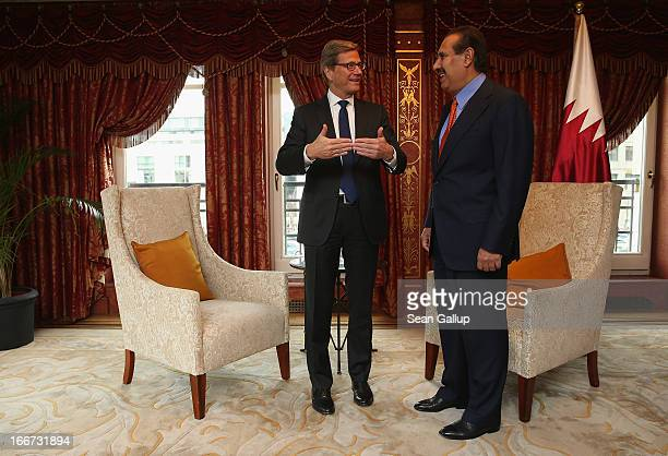German Foreign Minister Guido Westerwelle meets with Qatar Prime Minister Hamad bin Jassim Al Thani at the Adlon Hotel on April 16 2013 in Berlin...