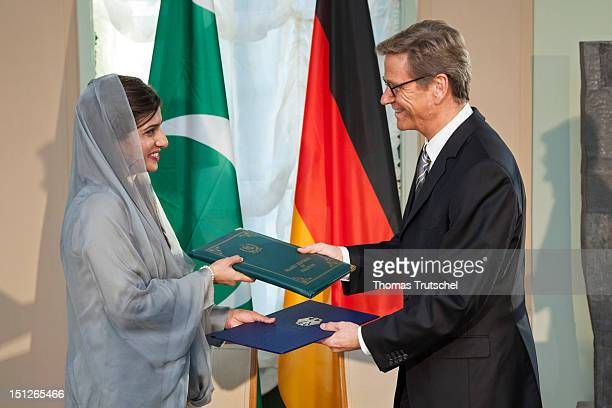 German Foreign Minister Guido Westerwelle sign a agreement on strategic dialogue with Pakistan Foreign Minister Hina Rabbani Khar in the Villa Borsig...