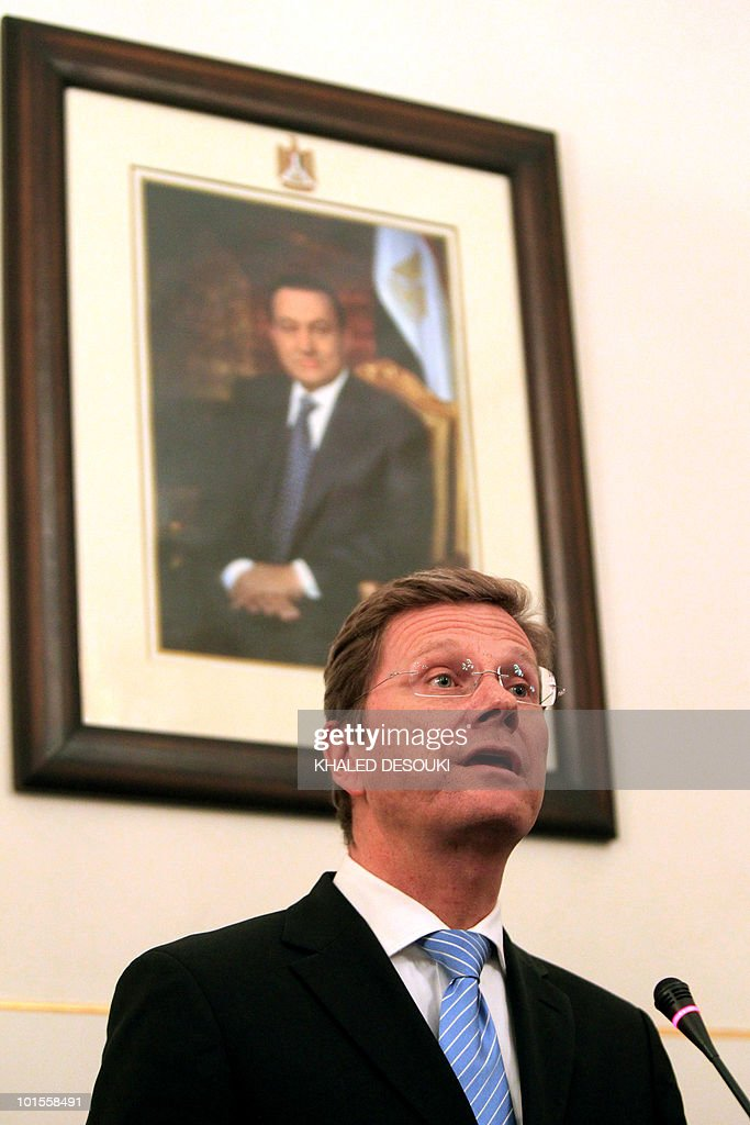 German Foreign Minister Guido Westerwelle speaks during a joint press conference with his Egyptian counterpart Ahmed Abul Gheit following a meeting in Cairo on May 22, 2010. Westerwelle urged Israel and the Palestinians, who are engaged in US-mediated indirect peace talks, to pursue direct negotiations.