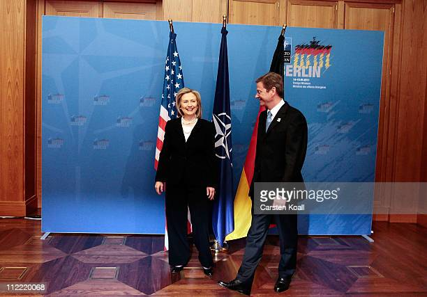 German Foreign Minister Guido Westerwelle welcomes US Secretary of State Hillary Clinton for bilateral talk to an informal meeting of NATO member...