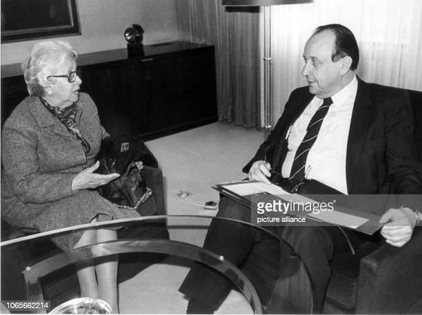 German Foreign Minister HansDietrich Genscher and Maria Adela Gard one of the Argentinian 'Mothers of the Disappeared' in Bonn Germany 28 March 1983...