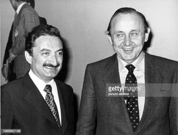 German Foreign Minister HansDietrich Genscher and Turkish Prime Minister Bülent Ecevit in Bonn Germany 11 May 1978 | usage worldwide