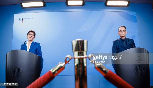 German Foreign Minister Heiko Maas and Annegret KrampKarrenbauer Federal Minister of Defense and party leader of the CDU recorded in a press...