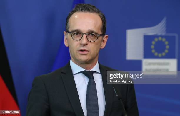German Foreign Minister Heiko Maas and European Commission Chief JeanClaude Juncker hold a joint press conference following their meeting in Brussels...