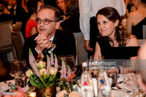 German Foreign Minister Heiko Maas and Foreign Minister of Canada and Eric M Warburg Prize laureate Chrystia Freeland look on during the award...
