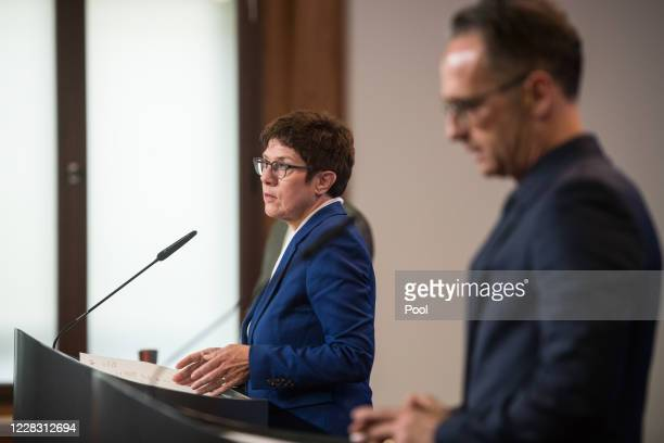 German Foreign Minister Heiko Maas and German Defence Minister Annegret KrampKarrenbauer address a press statement at the Foreign Ministry in Berlin...