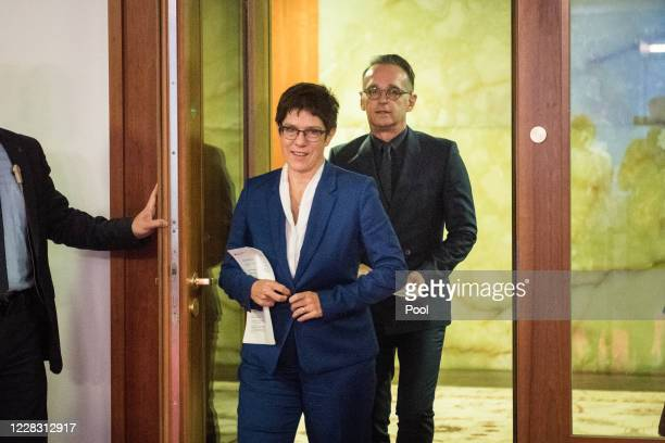 German Foreign Minister Heiko Maas and German Defence Minister Annegret KrampKarrenbauer arrive to address a press statement at the Foreign Ministry...
