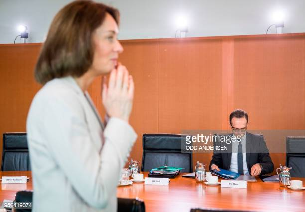German Foreign Minister Heiko Maas and German Justice Minister Katarina Barley are seen at the start of the weekly cabinet meeting at the Chancellery...