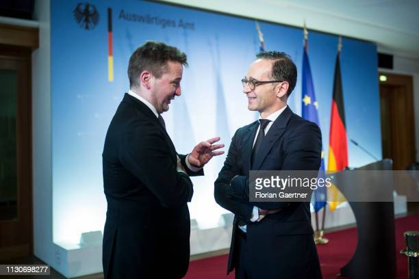 German Foreign Minister Heiko Maas and Gudlaugur Thor Thordarson Foreign Minister of Iceland are pictured after a press conference on March 15 2019...