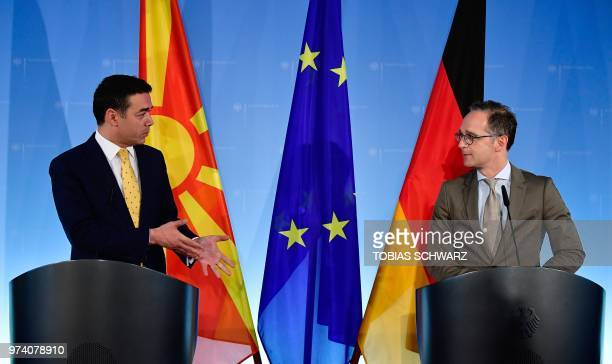 German Foreign Minister Heiko Maas and his Macedonian counterpart Nikola Dimitrov give a joint press conference following talks on June 14 2018 in...