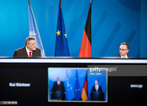 German Foreign Minister Heiko Maas and Jan Kubis, head of the United Nations Support Mission in Libya, recorded during a press conference at the...