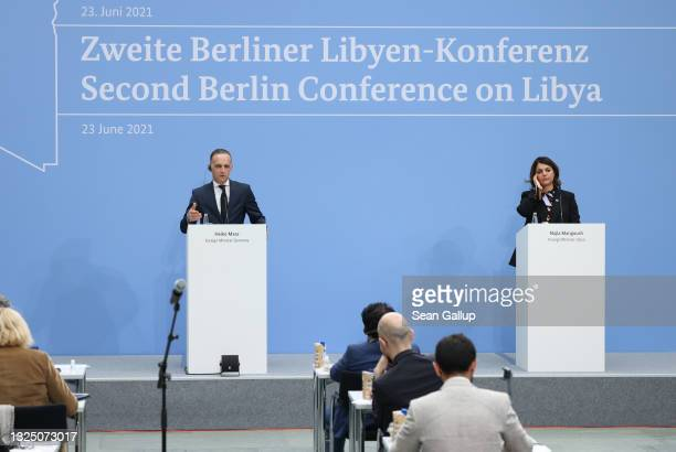 German Foreign Minister Heiko Maas and Libyan Foreign Minister Najla Mangoush speak to the media during the second international Libya conference on...