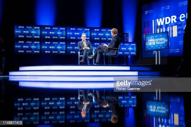 German Foreign Minister Heiko Maas and Markus Preiss Head of ARD Television Studio Brussels discuss at the International WDR Europaforum on May 23...