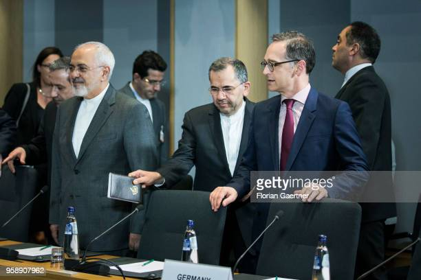 German Foreign Minister Heiko Maas and Mohammed Javad Zarif , Foreign Minister of Iran, are pictured before their meeting on May 15, 2018 in...