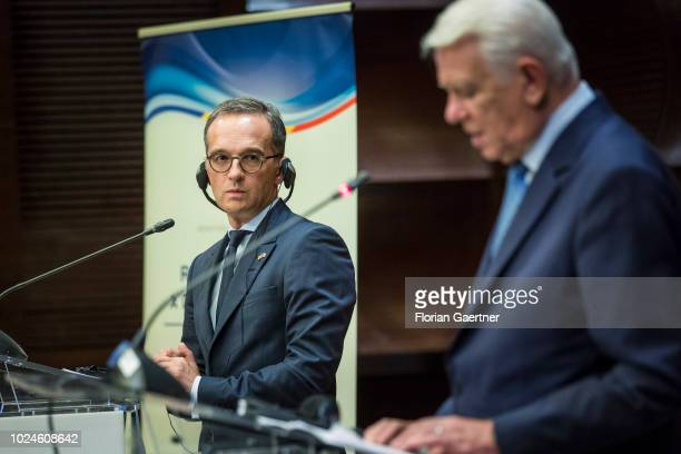 German Foreign Minister Heiko Maas and Teodor-Viorel Melescanu , Foreign Minister of Romania, are pictured during a press conference on August 27,...