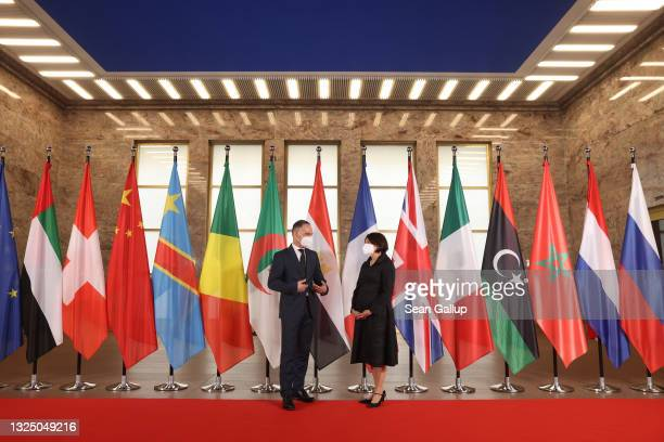 German Foreign Minister Heiko Maas and United Nations Under-Secretary General for Political Peacebuilding Affairs Rosemary DiCarlo wait for the...