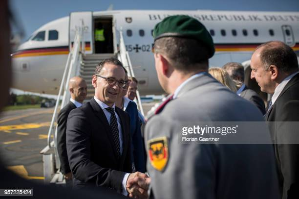 German Foreign Minister Heiko Maas arrives at the airport on May 11 2018 in Palanga Lithuania Maas travels to Palanga for the B31 meeting between the...